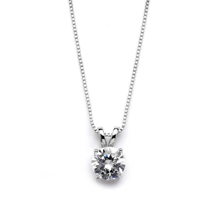 Delicate CZ Round-Cut Necklace with Double Loop Top<br>2002N-S