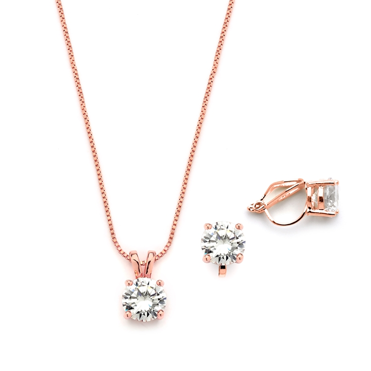 14K Rose Gold Plated CZ Pendant Necklace and Clip-On Earrings Set<br>2002S-RG