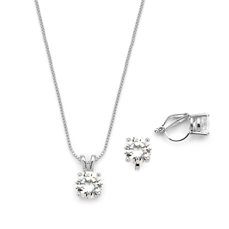 Rhodium Plated CZ Pendant Necklace and Clip-On Earrings Set<br>2002S-S