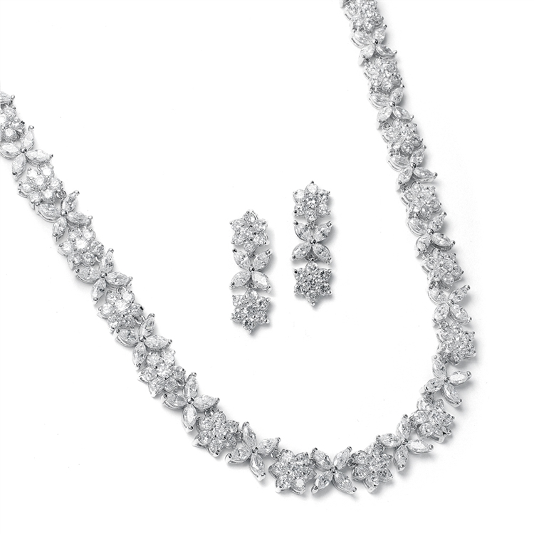 CZ Bridal Necklace with CZ Marquis Flowers<br>2020S