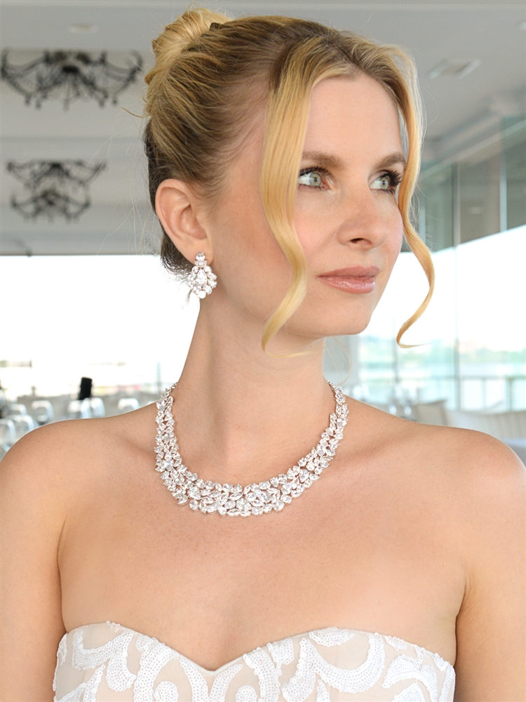 Ravishing Cubic Zirconia Wedding Necklace Set<br>2028S