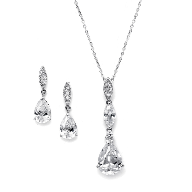 Bridal Necklace Set with Pave Top & Cubic Zirconia Pears<br>2030S