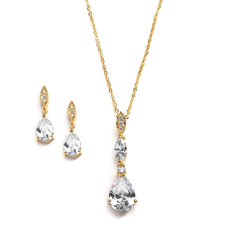 Bridal Necklace Set with Pave Top & Cubic Zirconia Pears<br>2030S-G