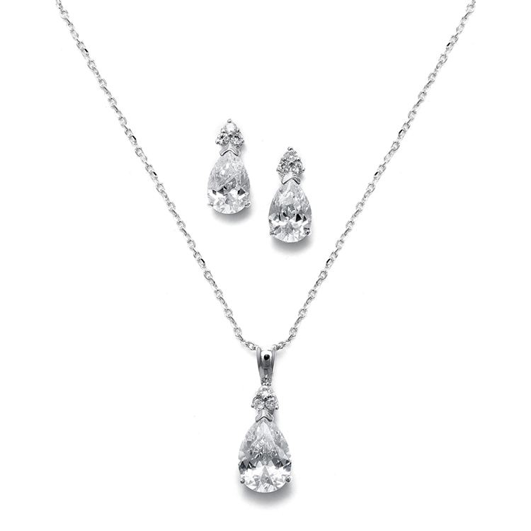 Bold Pear Solitaire Necklace and Earrings Set<br>2048S