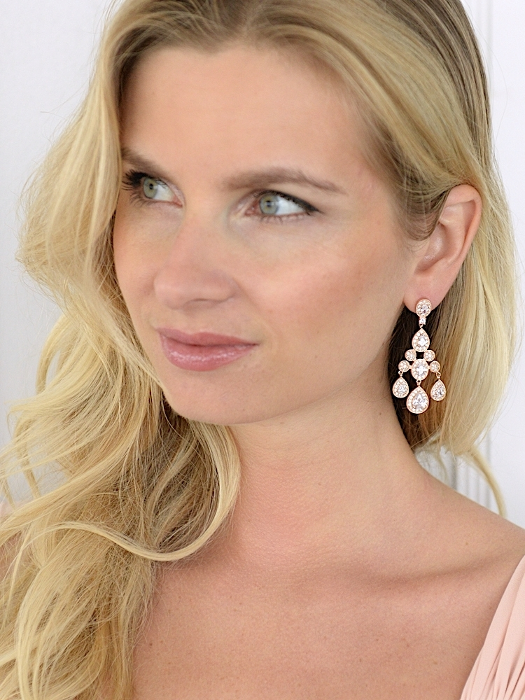 Rose Gold Wedding Chandelier Earrings in Pave Encrusted CZ<br>2052E-RG