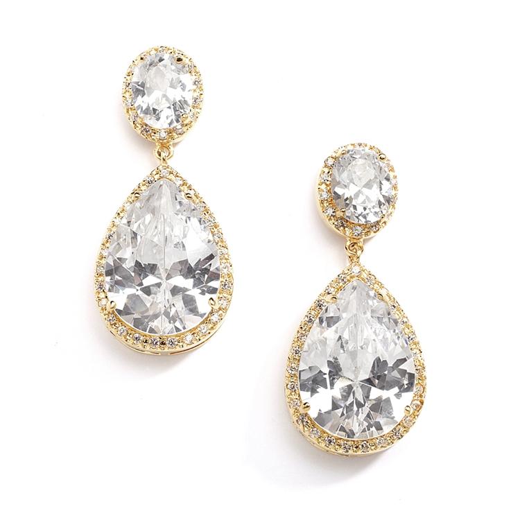 Best Ing Gold Cz Pear Shaped Drop Bridal Earrings Pierced Br