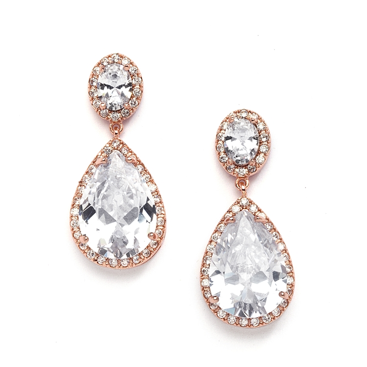 Best-Selling Cubic Zirconia Rose Gold Pear-Shaped Bridal Earrings - Pierced<br>2074E-RG