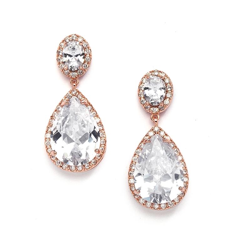 Long Stylish Earrings with american diamonds Earrings for Bride Wedding jewelry Rose Gold Mesh Earring with Cubic Zirconia Diamonds