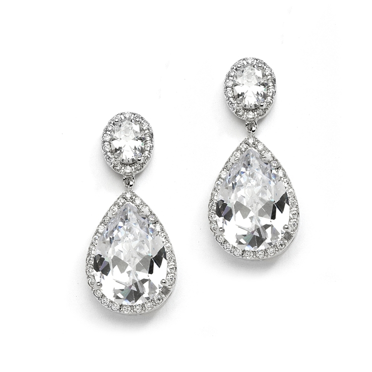 Beautiful CZ Pear-shaped Drop Bridal Earrings - Pierced<br>2074E-S