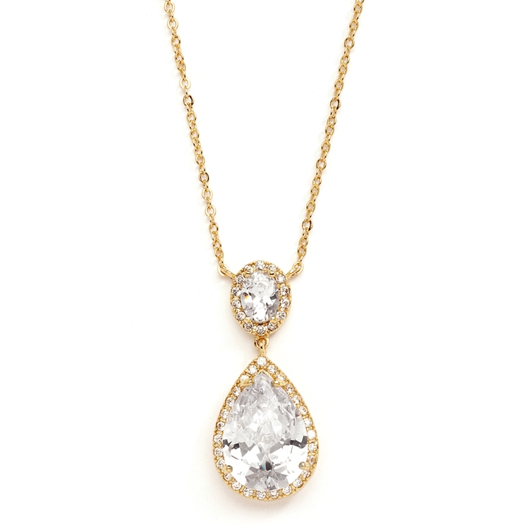 Couture Cubic Zirconia Pear-Shaped Bridal Necklace<br>2074N-G