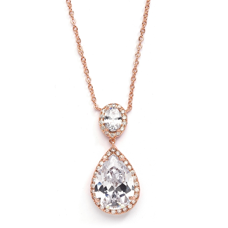 Couture Cubic Zirconia Pear-Shaped Bridal Necklace<br>2074N-RG