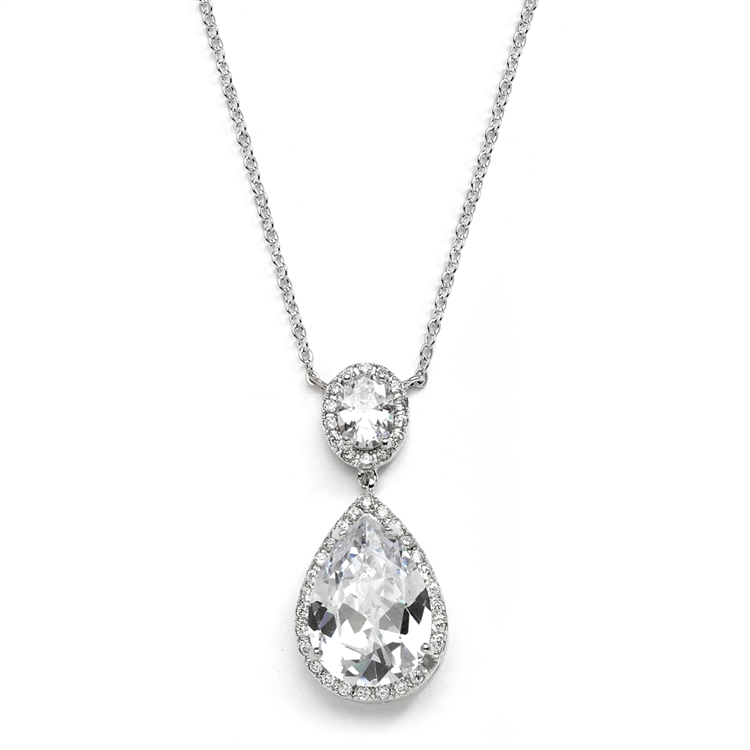 Couture Cubic Zirconia Pear-Shaped Bridal Necklace<br>2074N-S
