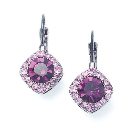 Tailored Amethyst Crystal Drop Earrings<br>209E-DA