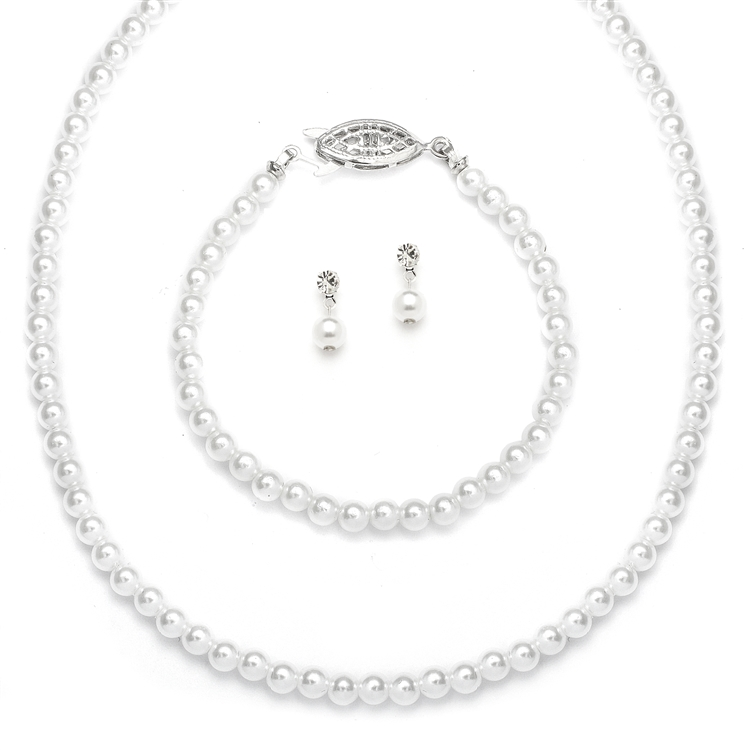 Three Piece Pearl Wedding Jewelry Set - Silver - White<br>2109BS-W-S