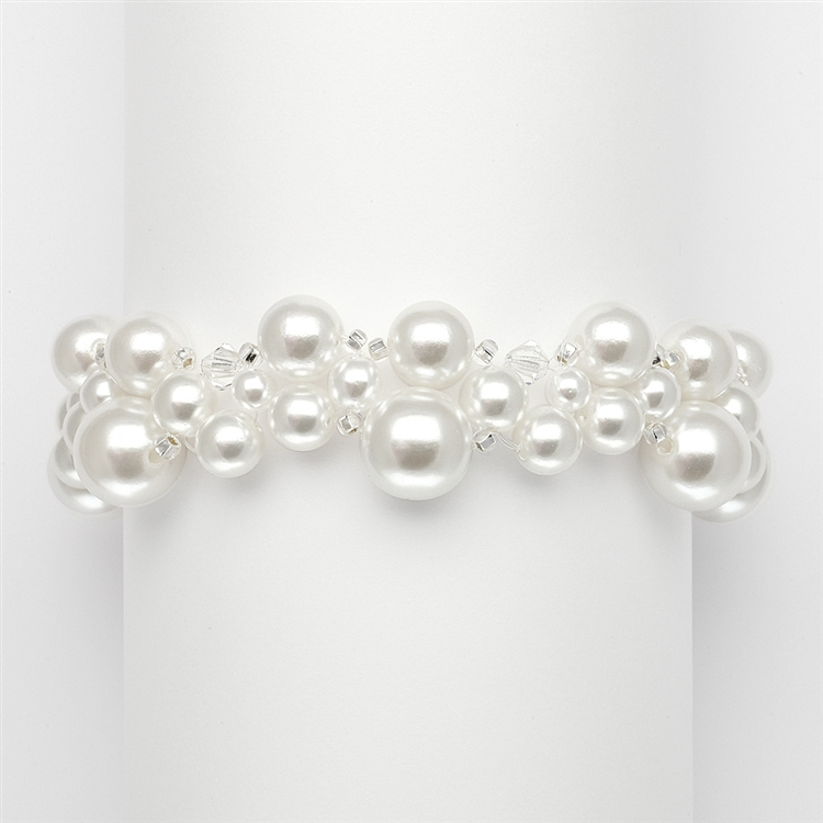 Crystal & Pearl Bubbles Bridal Bracelet - White<br>2113B-W-CR-S