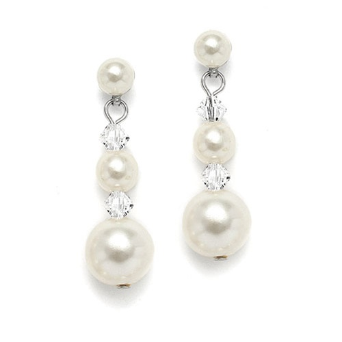 Graduated Pearl & Crystal Bridal Earrings<br>2113E