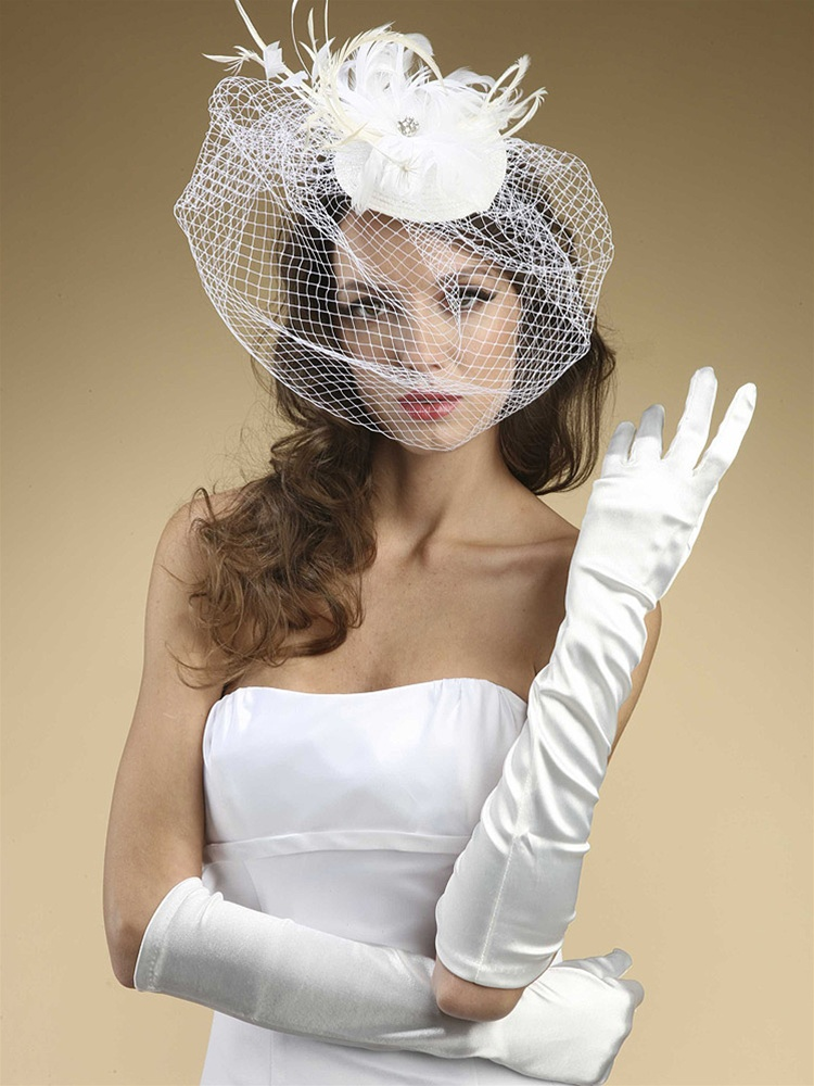 Below Elbow Wedding or Prom Gloves in Shiny Satin - Diamond White<br>224GL-2-DW
