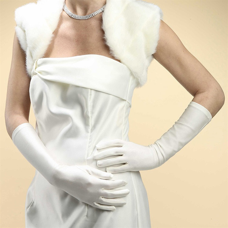 Below Elbow Wedding or Prom Gloves in Matte Satin - White<br>224GL-W