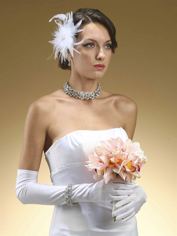 Above Elbow Bridal or Prom Gloves in Matte Satin - White<br>225GL-W