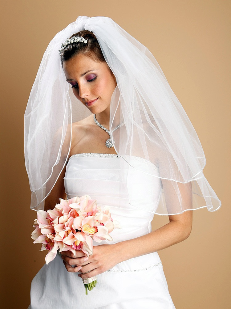 "2-Layer 36"" White Fingertip Bridal Veil with Rounded Satin Cord Edge<br>226V-30-W"