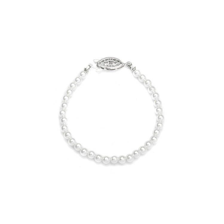 Single Strand 4mm Pearl Wedding Bracelet<br>228B