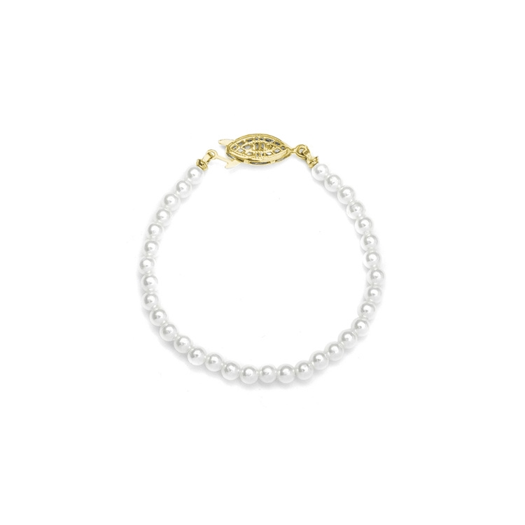 "Single Strand Petite 4mm Pearl Wedding Bracelet - 6""/White/Gold<br>228B-6-W-G"