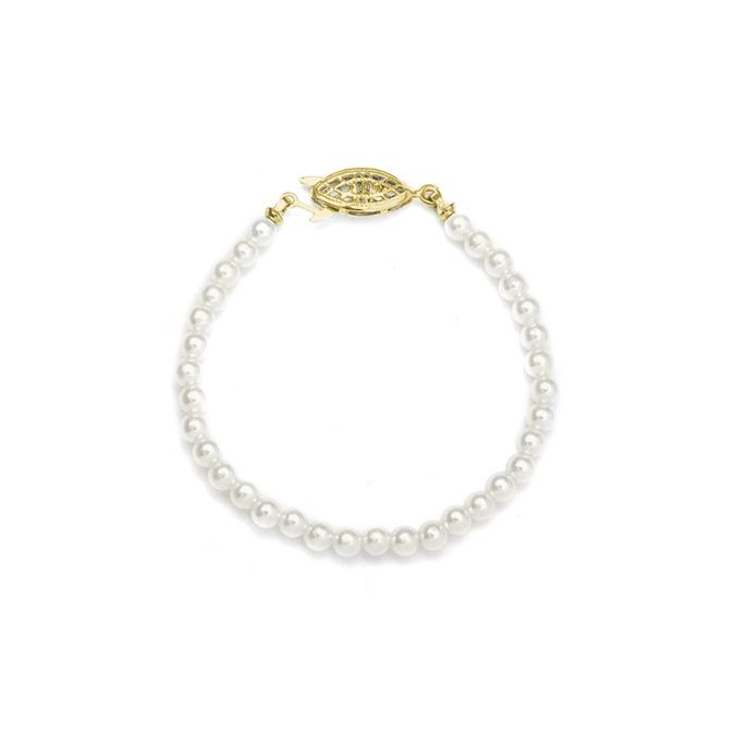 "Single Strand 4mm Pearl Wedding Bracelet - 7""/Ivory/Gold<br>228B-7-I-G"
