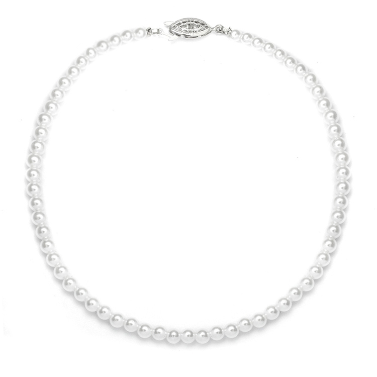 Single Strand 4mm Pearl Wedding Necklace<br>228N