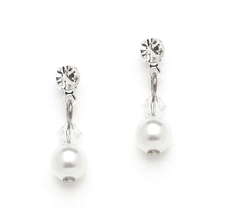 Classic Pearl & Crystal Drop Bridal or Bridesmaids Earrings - White<br>234E-W-CR-S
