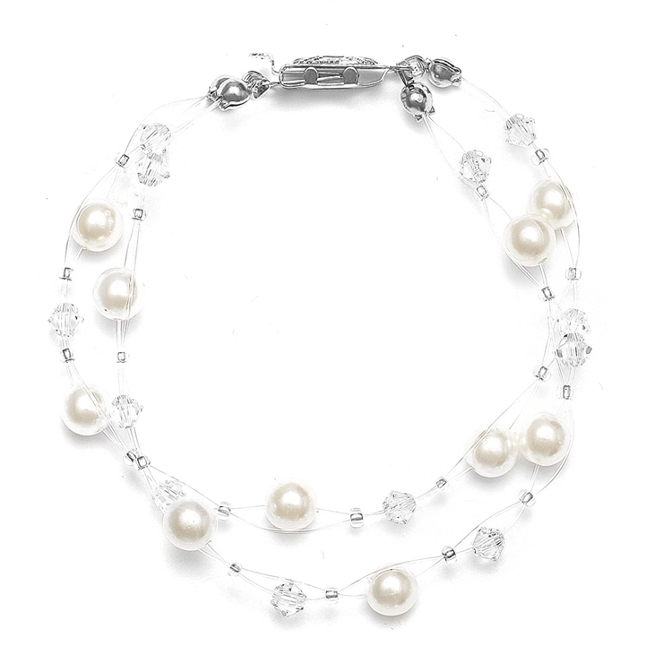2-Row Pearl & Crystal Bridal Illusion Bracelet - Ivory/Clear<br>235B-I-CR-S
