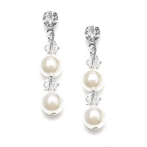 Pearl & Crystal Dangle Wedding Earrings<br>235E