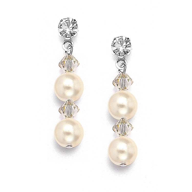 Pearl & Crystal Dangle Wedding Earrings - Honey - Pierced<br>235E-HO-S