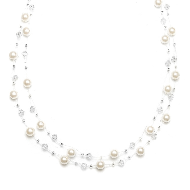 2-Row Pearl & Crystal Bridal Illusion Necklace<br>235N