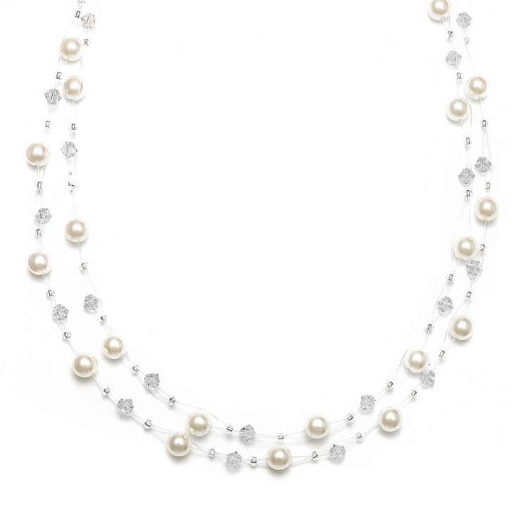 Pearl & Crystal Bridal or Bridesmaids Illusion Necklace - Honey<br>235N-HO-CR-S