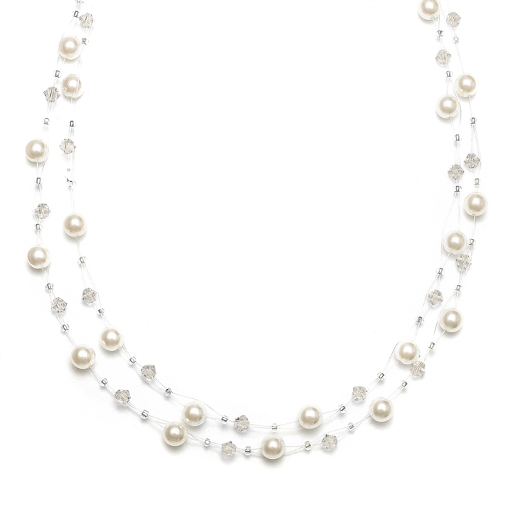 Pearl & Crystal Bridal or Bridesmaids Illusion Necklace - Honey<br>235N-HO-S