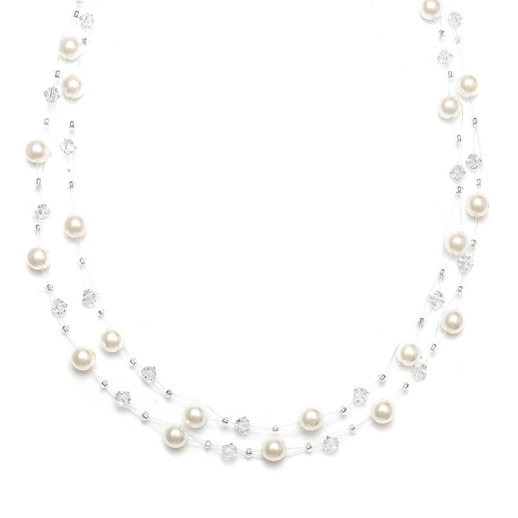2-Row Pearl & Crystal Bridal Illusion Necklace - Ivory/Clear<br>235N-I-CR-S