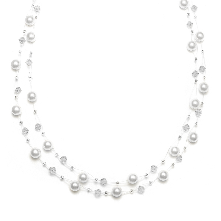 2-Row Pearl & Crystal Bridal Illusion Necklace - White<br>235N-W-CR-S