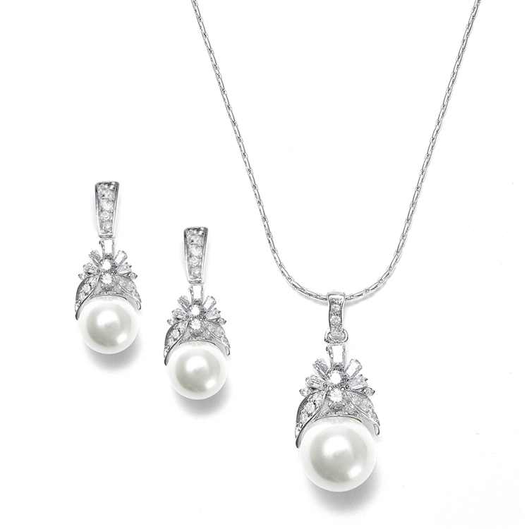 Pearl and CZ Baguettes Necklace Set<br>261S