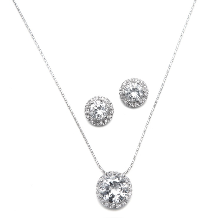 CZ Solitaire Wedding Necklace and Earring Set<br>291S-CR