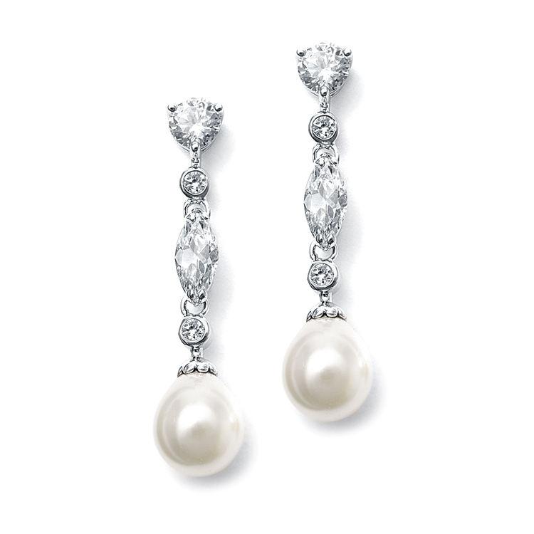 Linear CZ and Pearl Wedding Earrings<br>3035E