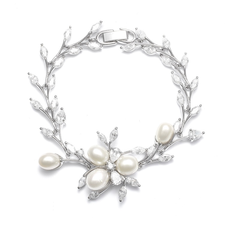 Freshwater Pearl Wedding Bracelet with CZ Leaves <br>3041B