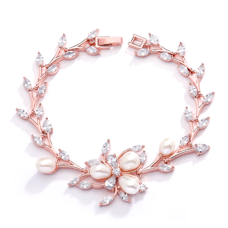 Rose Gold and Freshwater Pearls in CZ Leaves Bracelet<br>3041B-RG