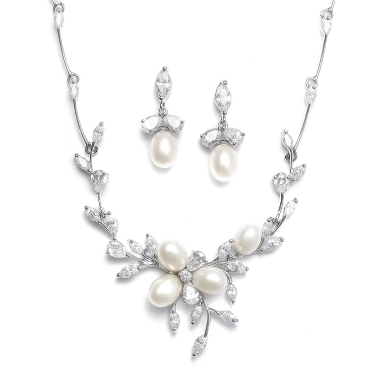 Freshwater Pearls in CZ Leaves Neck Set<br>3041S