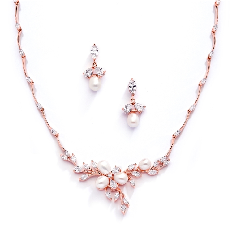 Rose Gold and Freshwater Pearls in CZ Leaves Neck Set<br>3041S-RG