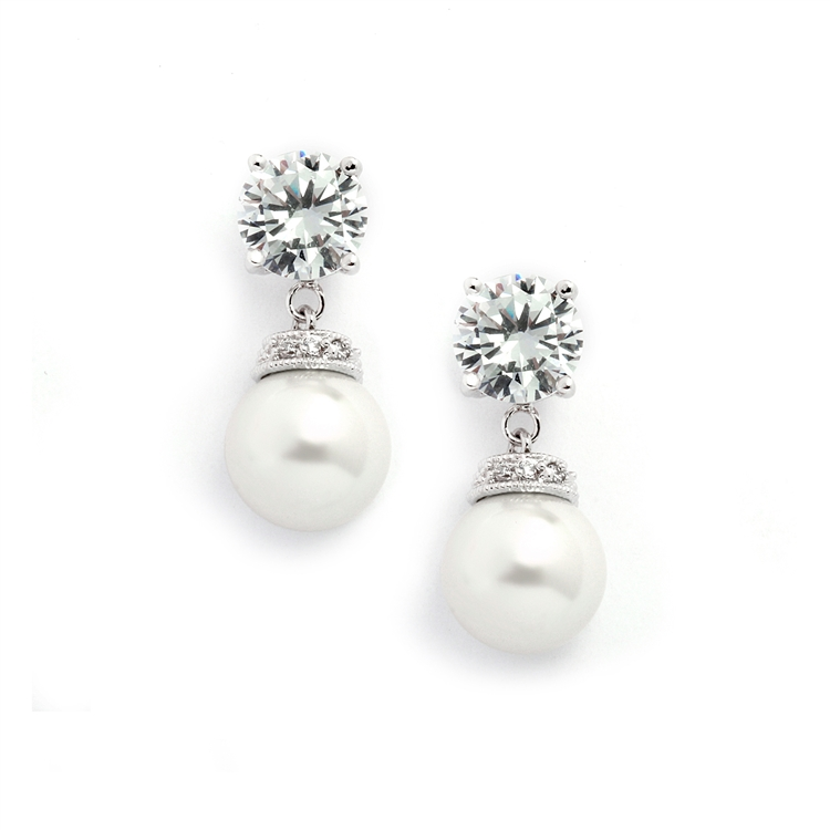 Round CZ Wedding Earrings with Bold Pearl<br>3044E