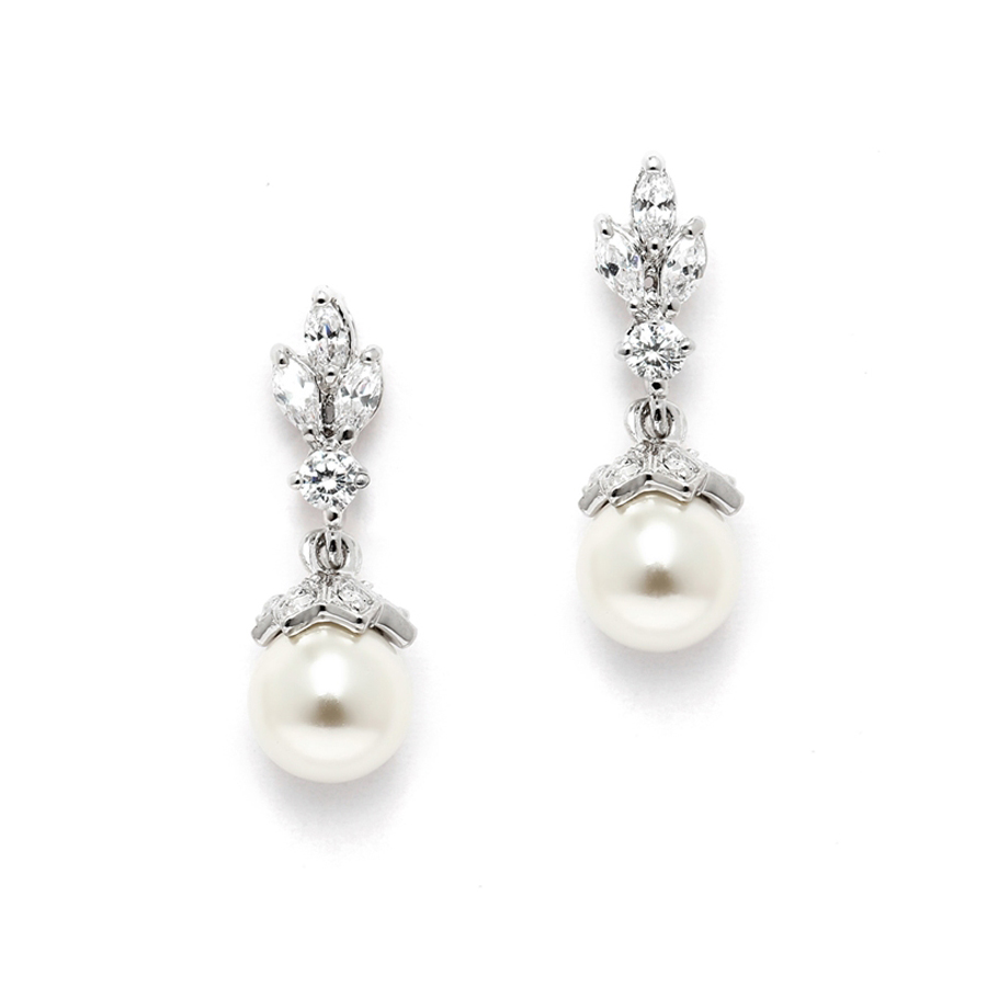CZ Marquis Trio Earrings with Pearl Drop<br>304E-I-S