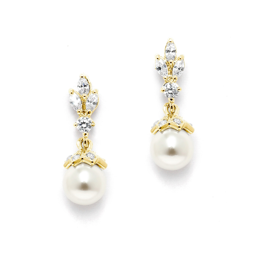 14K Gold Plated CZ Marquis Trio Earrings with Pearl Drop<br>304E-G