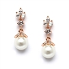 Rose Gold CZ Marquis Trio Earrings with Pearl Drop<br>304E-RG
