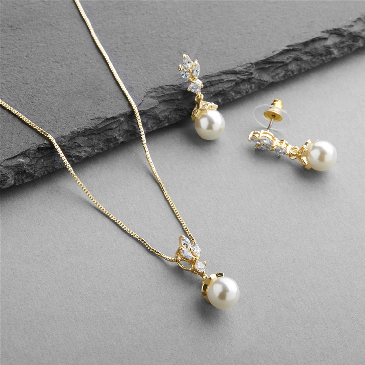 Gold Cubic Zirconia & Light Ivory Pearl Drop Vintage Wedding Jewelry Set<br>304S-G