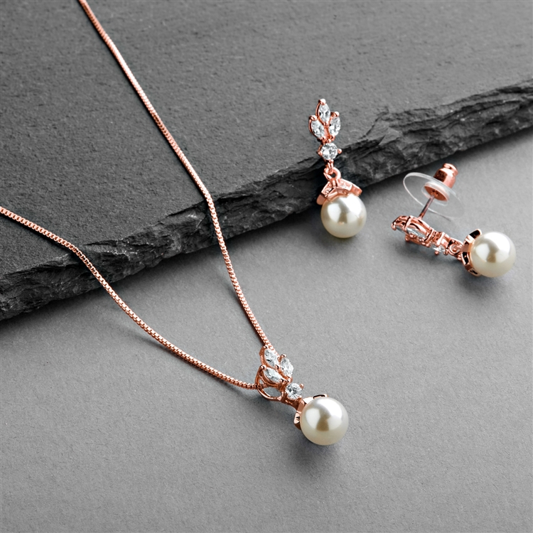 Rose Gold Cubic Zirconia & Light Ivory Pearl Drop Vintage Wedding Jewelry Set<br>304S-RG